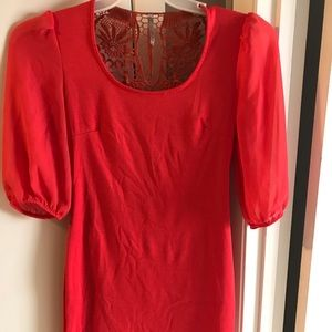Coral sheer sleeve dress